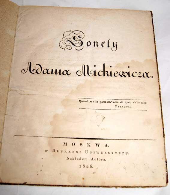 Mickiewicz Sonety Wyd Moskwa 1826r I Wydanie Półskórek