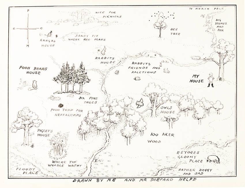 Mapa stumilowego lasu, Kubuś Puchatek A.A. Milne pierwsze polskie wydanie 1938, pierwsze wydanie ksiażkowe w języku polskim, Chatka Puchatka, E.H. Shepard, Prosiaczek, rzadkie książki