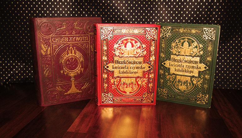 luksusowe książki przedwojenne religijne, ekskluzywne oprawy wydawnicze, oprawy nakładowe, książki na prezent